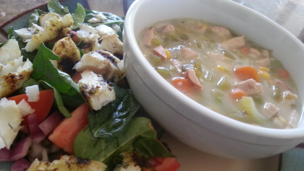 turkey soup and grilled fish salad