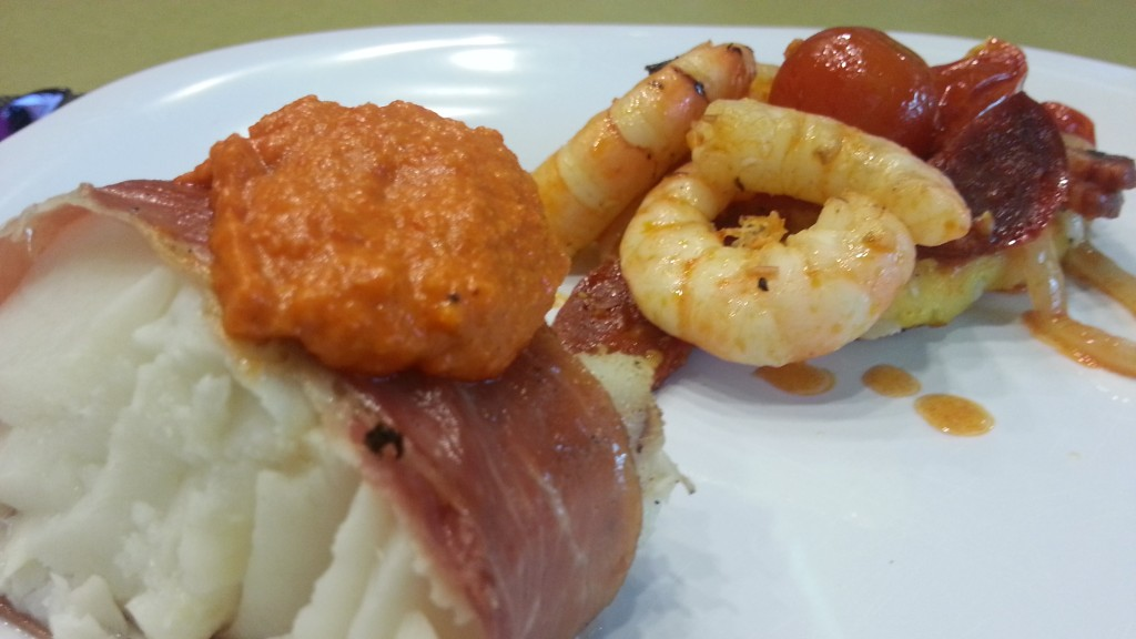 shrimp- chorizo with prosciutto white fish romesco sauce