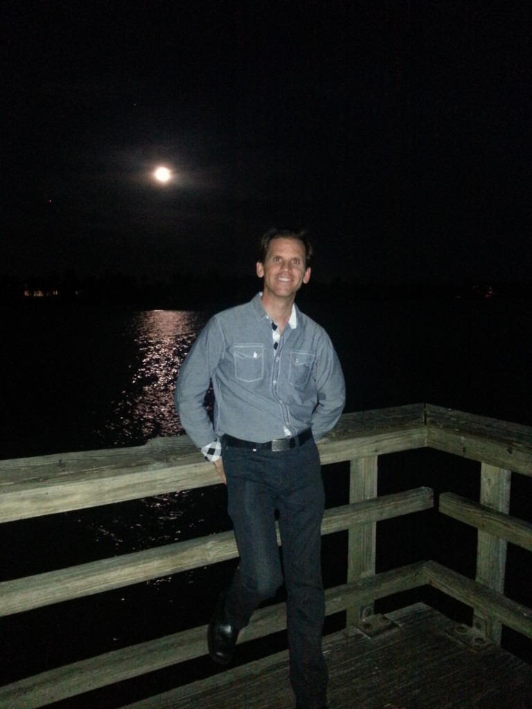 I'm at the Naples, Florida pier during a full moon.  At this point, my weight was close to normal.